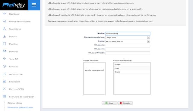 crear formulario mailrelay