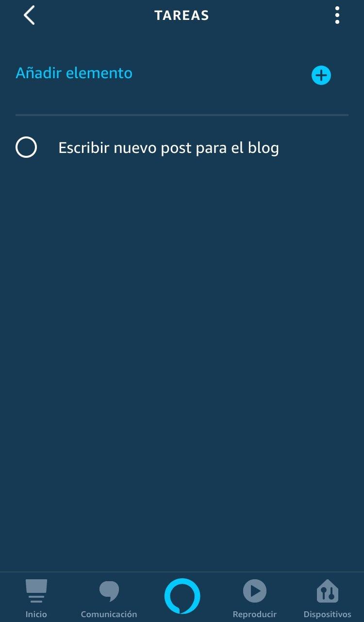 tareas en la app de Alexa